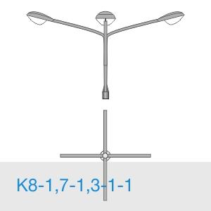К8-1,7-1,3-1-1 консольный четырехрожковый кронштейн